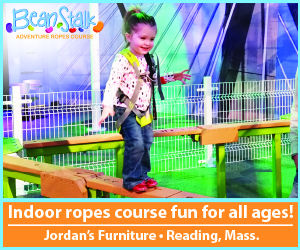 Indoor ropes course for kids at Jordans Furniture in Reading MA