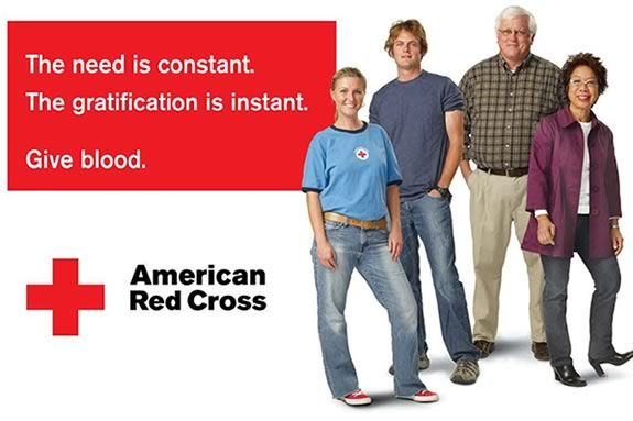 The need is constant. The gratification is instant. Give Blood.